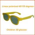 50 pçs/lote Amarelo CRIANÇAS Óculos 3D Polarização Linear 45/135 graus Linear Polarizada Óculos 3D para Crianças