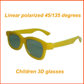 50pcs/lot Yellow CHILDREN 3D Glasses Linear Polarization 45/135 degrees Linear Polarized 3D Glasses for Kids