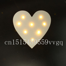 MINI white wooden heart shape light LED  Marquee Light Sign valentines gift Indoor Dorm FREE SHIPPING