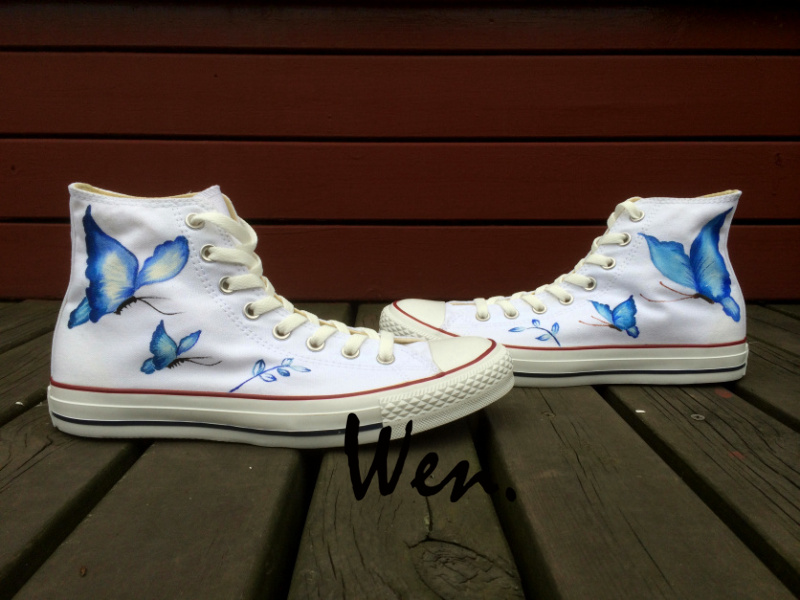 Wen Original Hand Painted Shoes Design Custom Blue Butterfly Men Womens White High Top Canvas SneakersWen Original Hand Painted Shoes Design Custom Blue Butterfly Men Womens White High Top Canvas Sneakers