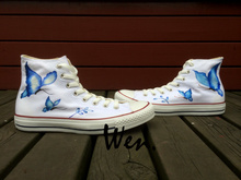 Wen Original Hand Painted Shoes Design Custom Blue Butterfly Men Women's White High Top Canvas Sneakers