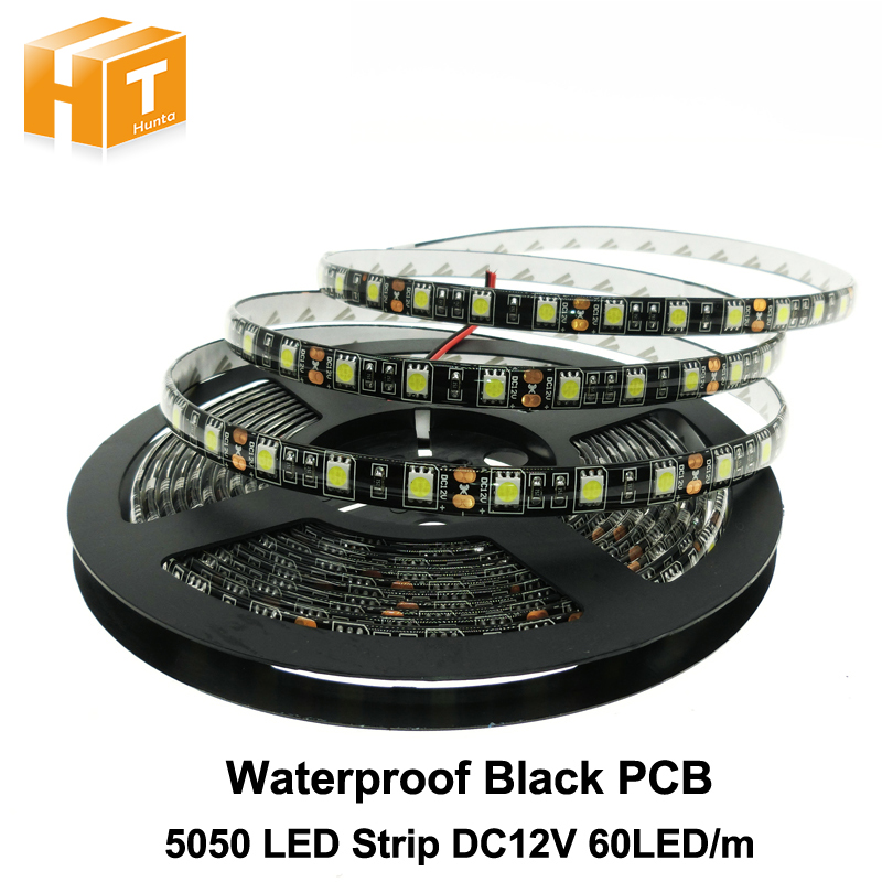 Black PCB LED Strip 5050 DC12V IP65 Waterproof 60LED/m 5m/lot White / Warm White / Red / Green / Blue / RGB 5050 LED Strip.Black PCB LED Strip 5050 DC12V IP65 Waterproof 60LED/m 5m/lot White / Warm White / Red / Green / Blue / RGB 5050 LED Strip.