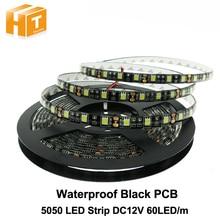 Black PCB LED Strip 5050,DC12V,Black PCB Board,IP65 Waterproof,60LED/m,5m 300LED,RGB,White,Warm White,Red,Green,Blue цена и фото