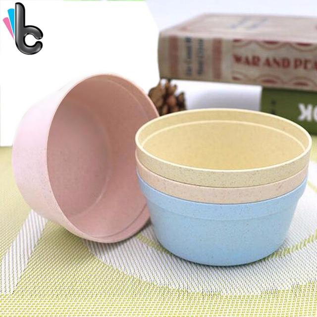 4pcs/set Korean Style Wheat Portable Soup Salad Rice Bowl Biodegradable  Bowls Travel Home Kitchen