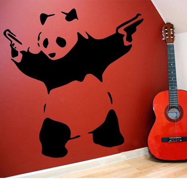 Banksy Panda Melambai Tangan Guns Vinyl Wall Sticker Wall Decal - Hiasan rumah