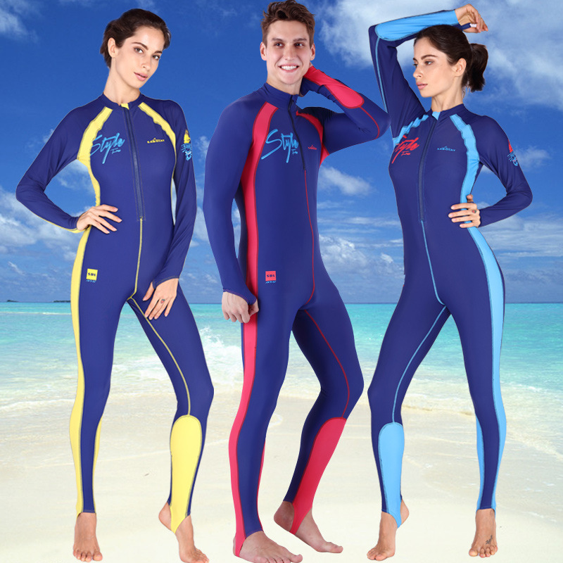 Здесь продается  SABOLAY lovers diving suit Rash guards one-piece surf elastic Shirt couple swimsuit swimming thin long sleeved jellyfish clothes  Спорт и развлечения