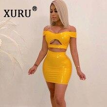 XURU Summer New Women's PU Sexy Dress Two-piece Nightclub Party Dress One-Shoulder Zipper Openwork Navel Pack Hip Dress Set a4tech bloody mp 80n с рисунком