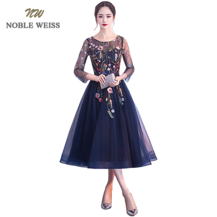 NOBLE WEISS Elegant O-Neck Evening   Dress   A-Line   Prom   Gowns Formal Evening Gown Lace   Prom     Dress   With 3/4 Sleeves Free Shipping