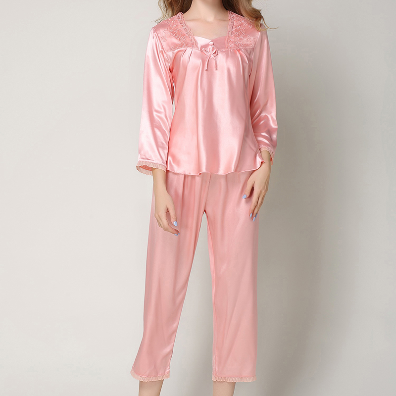 083c72d16f0 2018 Autumn Winter Women Silk Pajamas Set Sleep Long Sleeves Lace Warm  Nightgown Female Silk Sleepwear