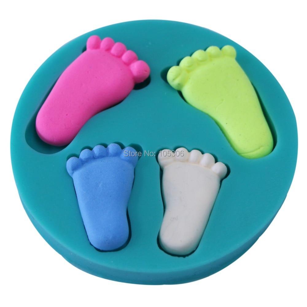 100% Foodgrade 3D Silicona Baby Foot Mold para decoración de - Cocina, comedor y bar