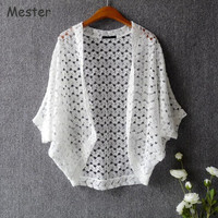 Women Lace Cardigan Japanese Style Sweet Cute Lace Shrugs Batwing Hollow Out Lace Tops Summer Knitted