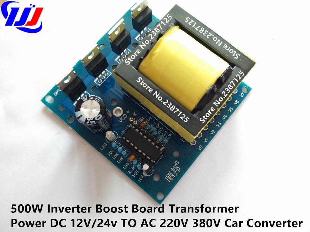 500W Inverter Boost Board Transformer Power DC 12V/24v TO AC 220V 380V Car Converter