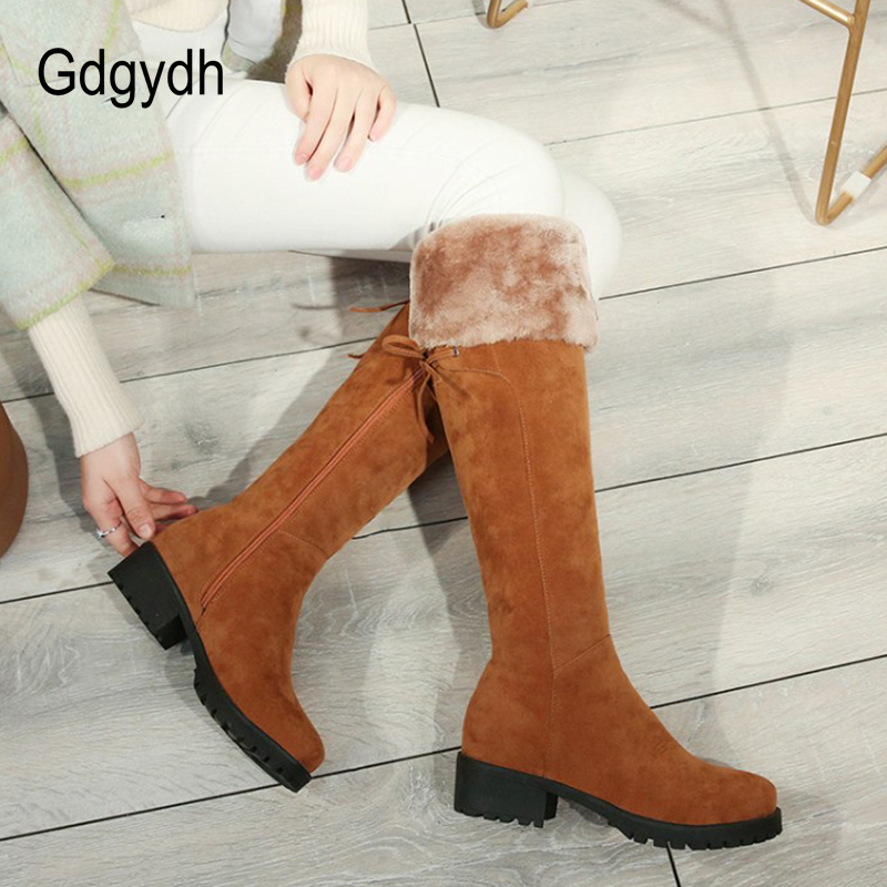Gdgydh Winter Warm Shoes Women Knee High Boots 2018 New Arrival Lace Up Female Snow Boots Shoes Good Quality Promotion SaleGdgydh Winter Warm Shoes Women Knee High Boots 2018 New Arrival Lace Up Female Snow Boots Shoes Good Quality Promotion Sale