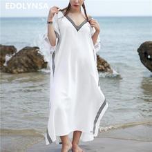 Oversize Women Clothes 2019 Plus Size Long Dress White Cotton V Neck  Batwing Sleeve Sex Side Split Summer Beach Party Dress N628 c7bf6b5d0471