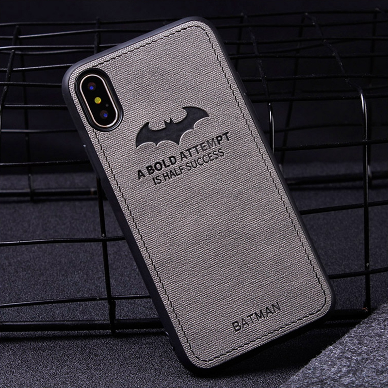 For iphone 8 7 XS X 10 Cloth Texture Bat Relief Case For iphone 7 8 plus Fabric Cover For iphone XS Max XR iphone 6 6s plus Case