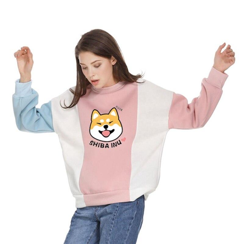Women Hoodies Leasure Kawaii Shiba Inu Fleece Contrast Color Patchwork Sweatshirts Anime Dog Printing Harajuku Pullovers