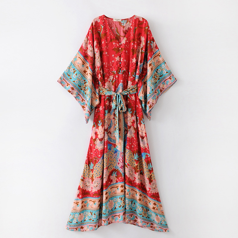 Khale Yose Summer Bohemian Dress Batwing Sleeve Kimono Floral Boho Maxi Women Dress Bohemian Hippie Holiday Long Beach Dresses