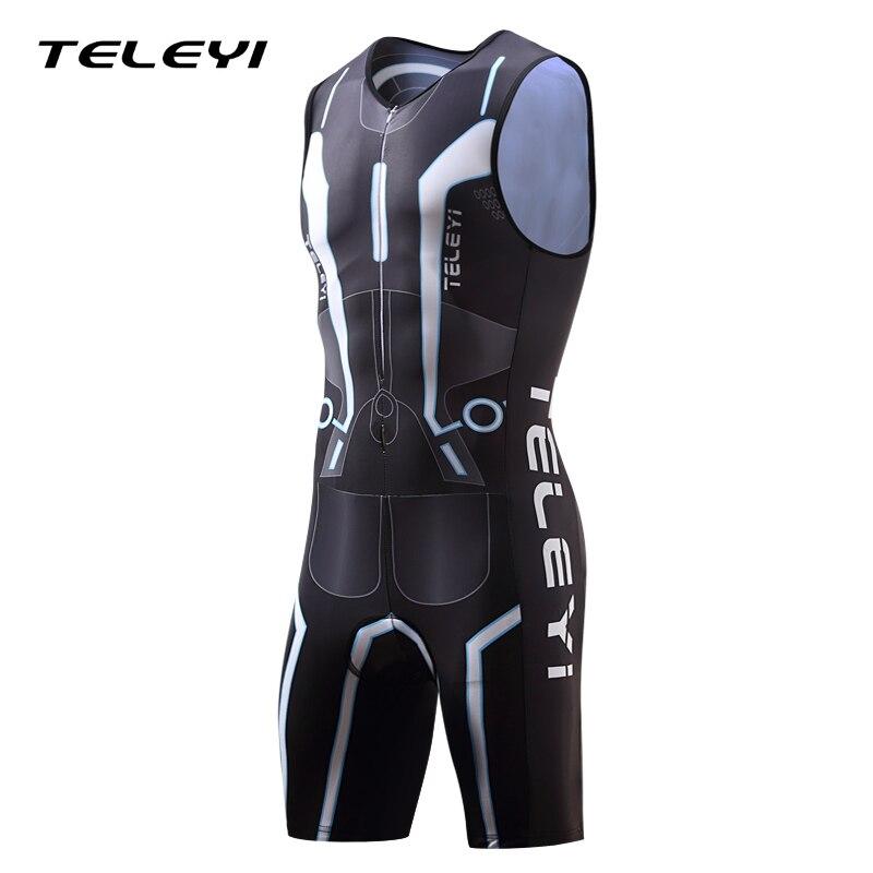 Prix pour 2017 TELEYI Triathlon Costume Hommes de Manches Cyclisme Jersey Définit Respirant Ropa Ciclismo Vélo Vélo Vitesse Costume Porter Des Vêtements