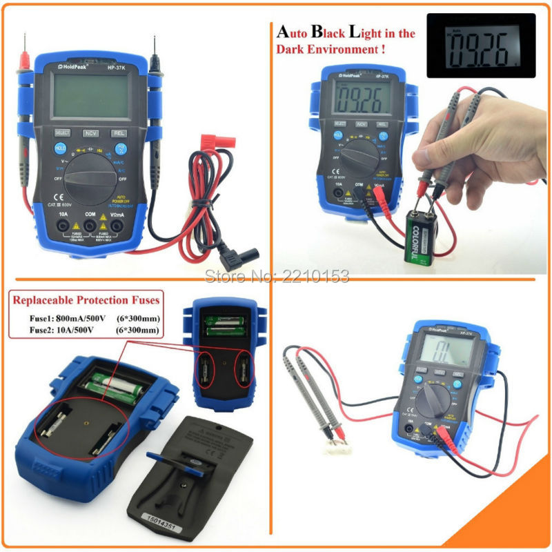 HoldPeak 37K Test Equipment Digital Multimeter AC/DC Resistance Capacitance Frequency NCV Relative Value Auto Back-Light my68 handheld auto range digital multimeter dmm w capacitance frequency