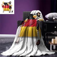 German Throw Blanket German Flag with Man and Woman in Traditional Clothes European Culture Illustration Soft Warm Blanket