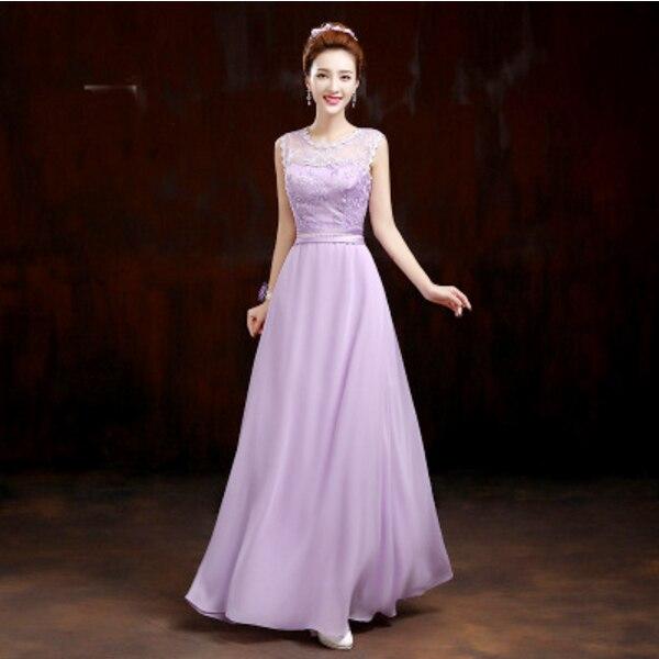 97c2f58c29 2017 elegante una línea de dama de honor hermosa vestidos de damas de honor vestido  lila luz púrpura con el cordón para la boda invitado D1978 en Vestidos ...