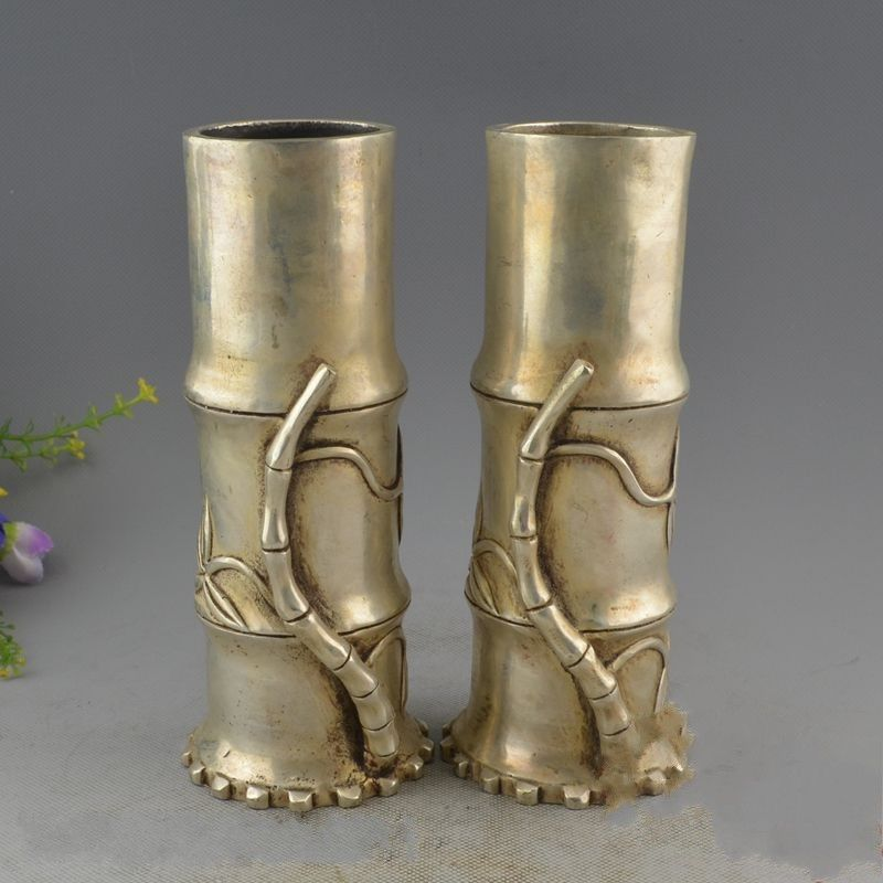 Chinese Miao Silver Beautifully Carved Bamboo Pen Container Vase A PairChinese Miao Silver Beautifully Carved Bamboo Pen Container Vase A Pair