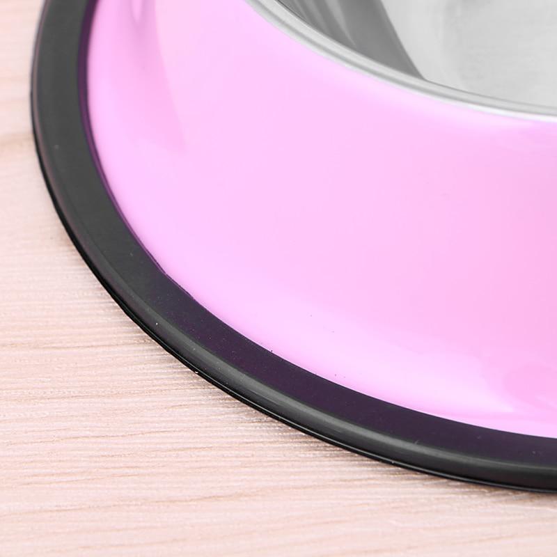 Купить с кэшбэком Multi-color Anti-Skid Stainless Steel Cat Dog Food Water Bowl Pet Feeding Bowl