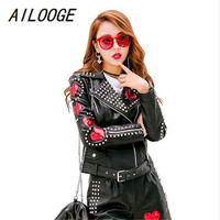 AILOOGE Autumn Pink Punk Leather Jacket Women Sequins Spikes Rivets Stars Motorcycle Patch Design Chaqueta Cuero Mujer