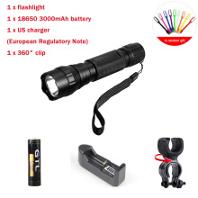 Hot super bright WF-501B CREE XML-T6 1000 lumens 18650 1 mode outdoor waterproof spotlight torch hunting tactics LED flashlight led flashligh 12x xml t6 led waterproof 4 mode 18650 battery super bright backpacking hunting fishing rope torch flash lamp