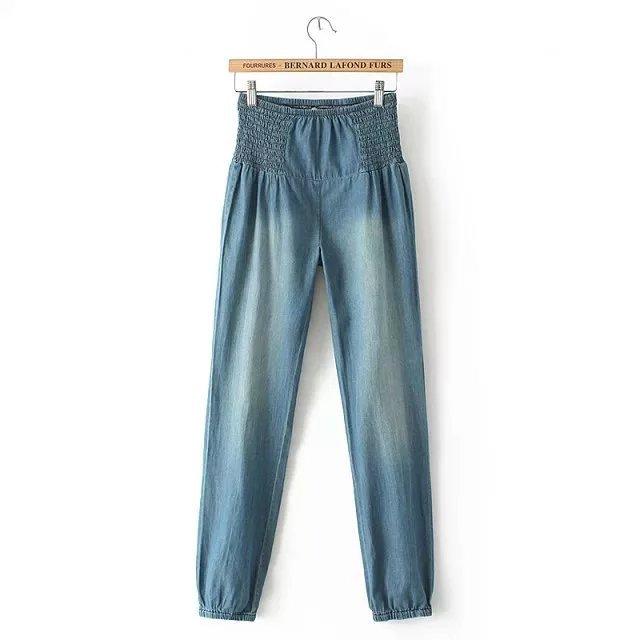 Calça Jeans de Cintura alta Calças Calças Jeans Lavados Mulheres Pleasted Calça Jeans Cintura Elástica Calças Femininas Outono ZY1609