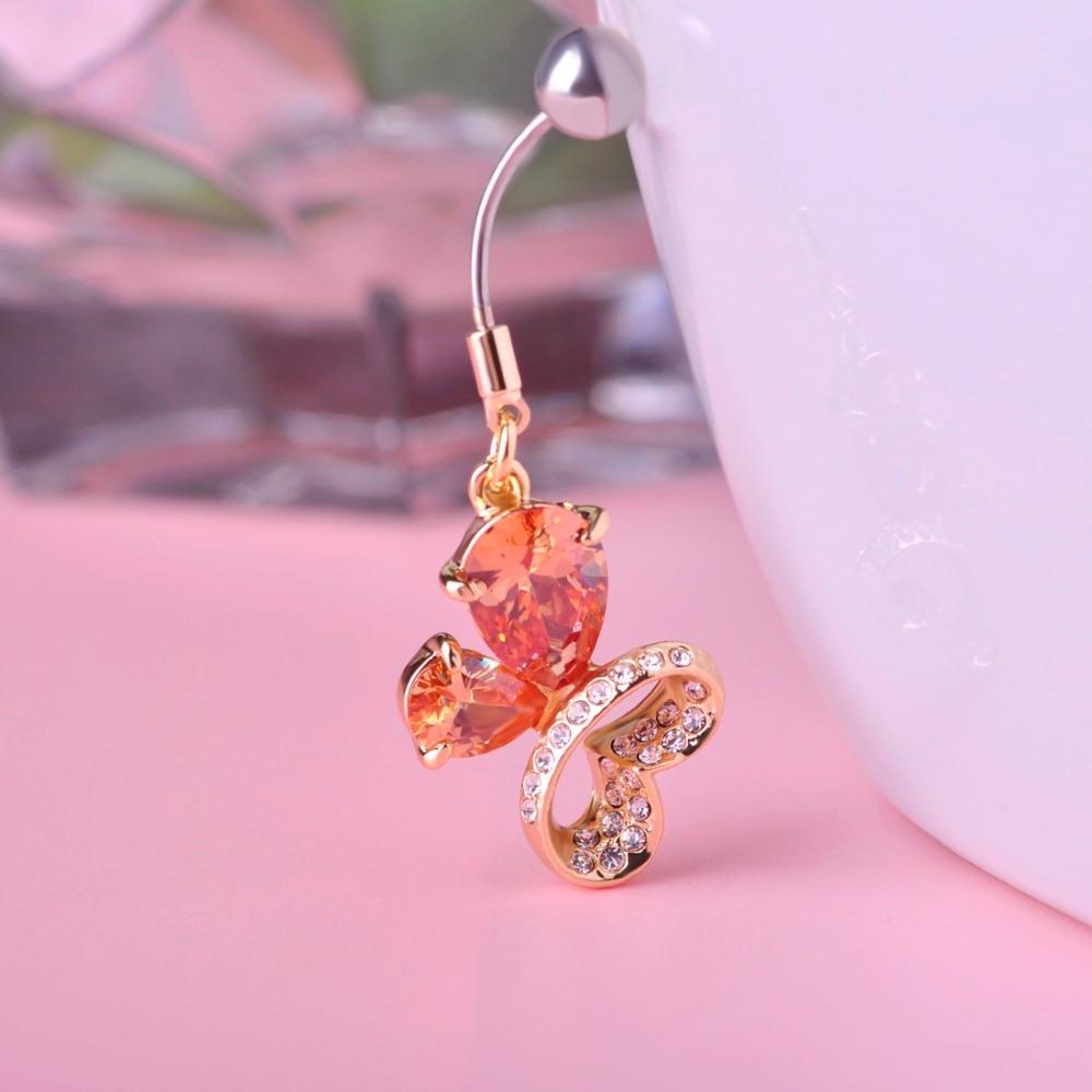 Summer Stlye Belly Button Rings Butterfly Shape Piercing Navel Love Women Girl Stainless Steel -5936