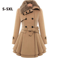 Plus Size 4XL 5XL Women Winter Coat Women Wool Jacket Red Camel Blue Fur Collar Slim Korean Loose Casual Female Long Coats H155