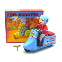Retro Collection Tin toys mkd3 Children Metal Wind up Auto Car Models Robot Vehicles Iron Mechanical King Scooter Motor Bike