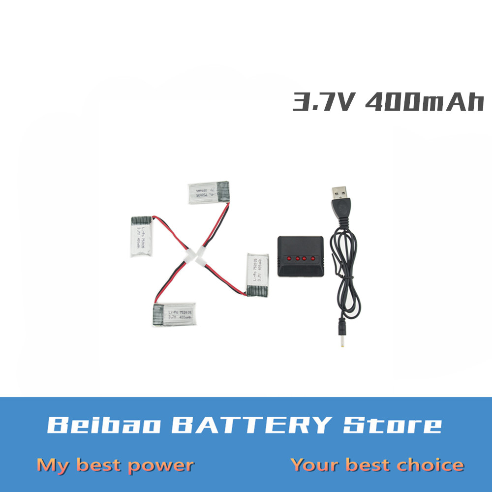 4 pcs <font><b>3.7V</b></font> <font><b>400mah</b></font> <font><b>battery</b></font> with x4 charger EU plug For Eachine H99W JJRC H31 H98 RC Quadcopter Drone Spare Parts 752035 wholesale image