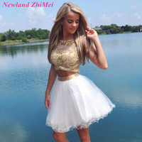 Lovely Two Piece Crystal Short Mini Homecoming Dresses Custom Made White Tulle Zipper Back Cocktail Dress Hot
