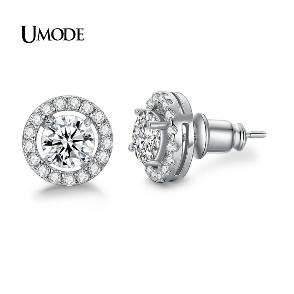 UMODE Fashion CZ Crystal Stud Earring For Women Wedding Engagement Girl's Jewelry Boucle D'Oreille Pendientes Mujer Moda AUE0012
