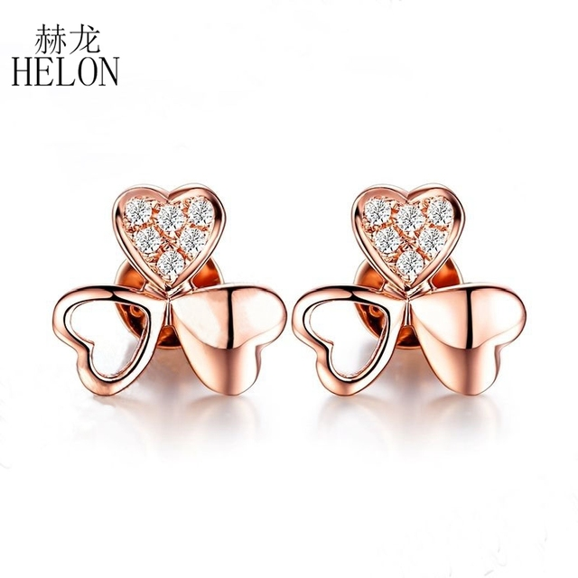 HELON Delacate Clover Fine Natural Diamond Wedding Anniversary Earrings Solid 18K Rose Gold Women's Fine Jewelry Earrings
