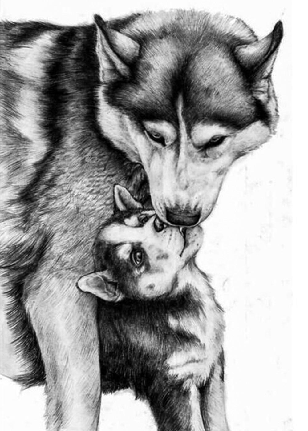 diy diamond painting wolf mother and child cube drill diamond