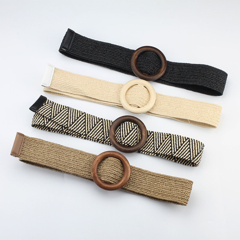 2019 New Ladies Wide Straw Braided Woven Waist   Belt   Female Round Square Wooden Buckle   Belts   for Women Dress Cinturon Madera Paja
