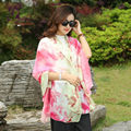 [YWJUNFU] 2016 Summer Women Silk Scarve Print Flower Scarf Lady Chiffon Long Shawls 150*200cm Girls Beach Scarves Autumn Wraps