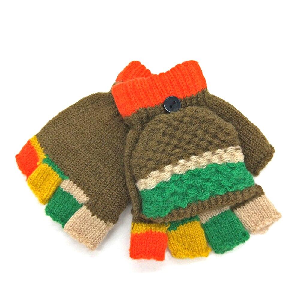 Children Sports Gloves Sports Clothing Adroit Patchwork Kids Thicken Warm Winter Knitted Boys Girls Half-finger Baby Outdoor Soft Gloves For 4-8y