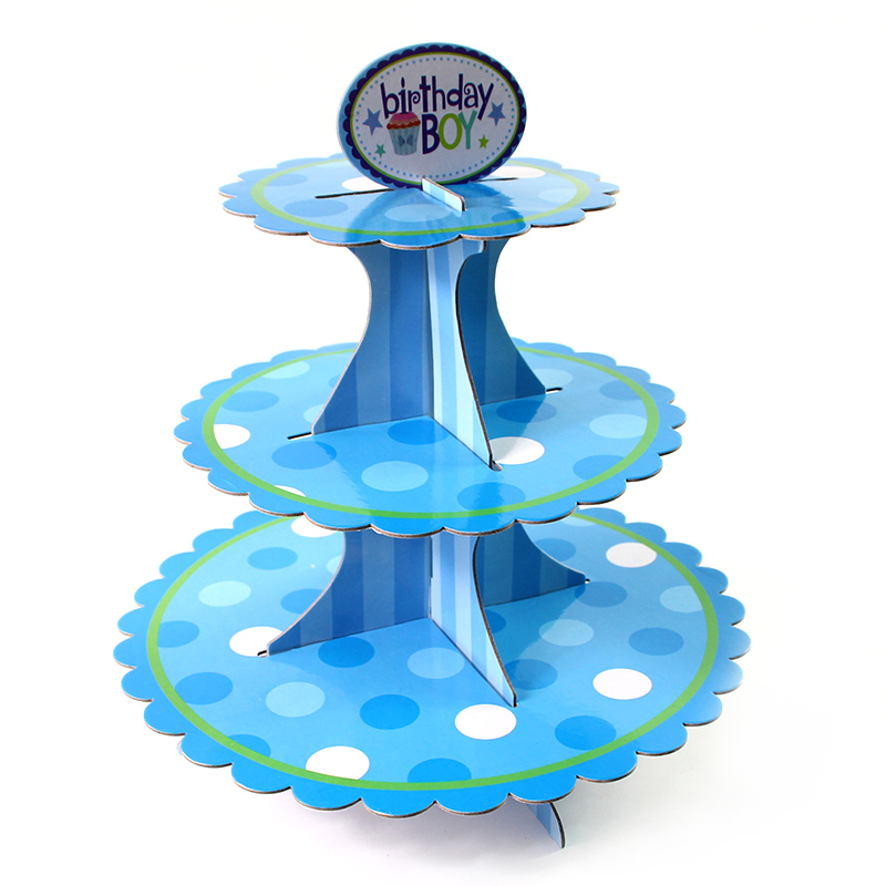 NEW 3 Tier Cupcake Stand Muffin Holder Cardboard Cake Rack Princess Kids Party