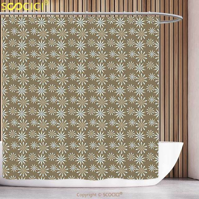 Fun Shower Curtain Damask Victorian Classic Floral Petals Leaf With Baroque  Effects Artsy Picture Light Blue