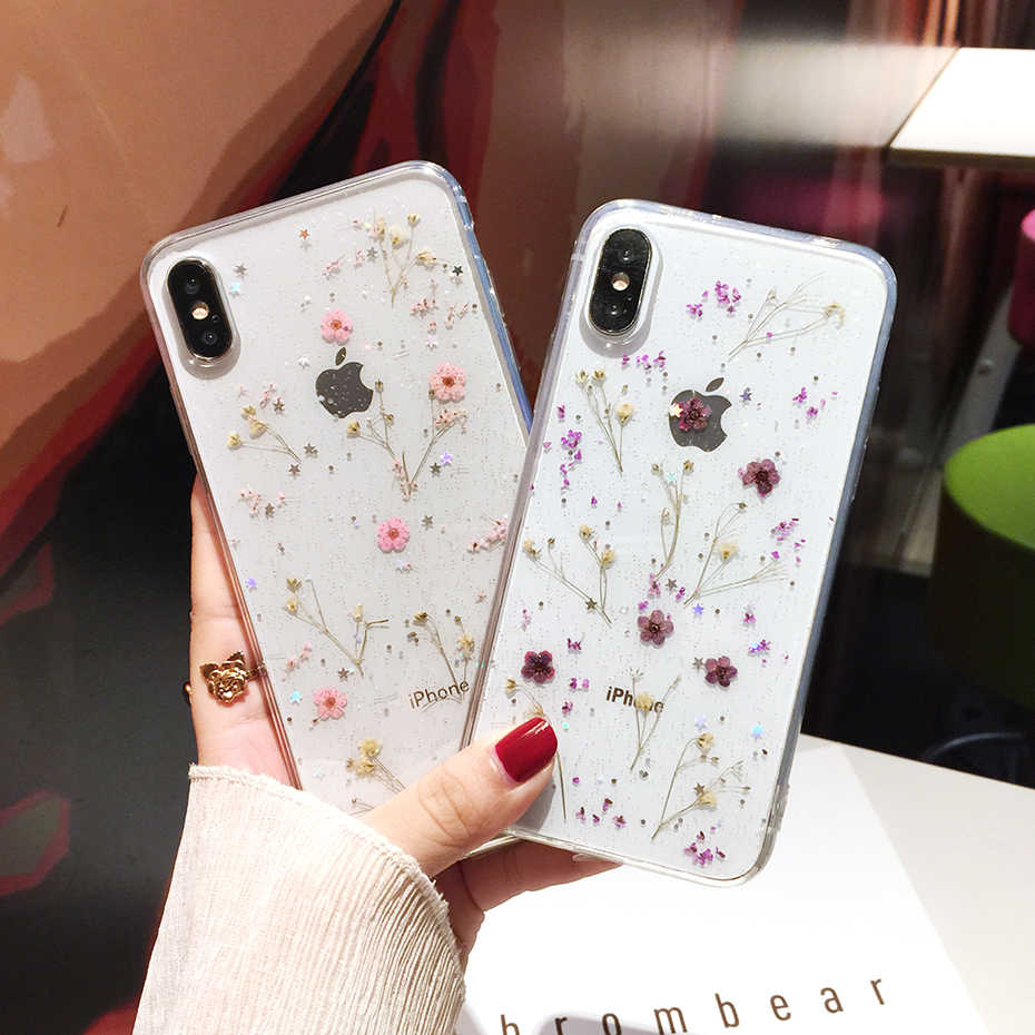 Qianliياو زهور مجففة حقيقية شفافة لينة غطاء آيفون X 6 6S 7 8 Plus 11 برو ماكس جراب هاتف آيفون XR XS ماكس غطاء