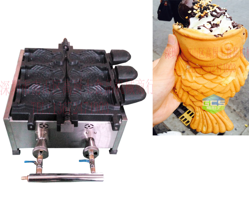 Gas Type 3 Pcs Open Mouth Taiyaki Machine Ice Cream Taiyaki Maker Fish Waffle Machine Large Assortment