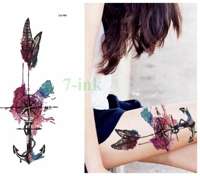 Wodoodporna Tymczasowa Tatuaż Dreamcatcher Syrenka Geometria Kolor