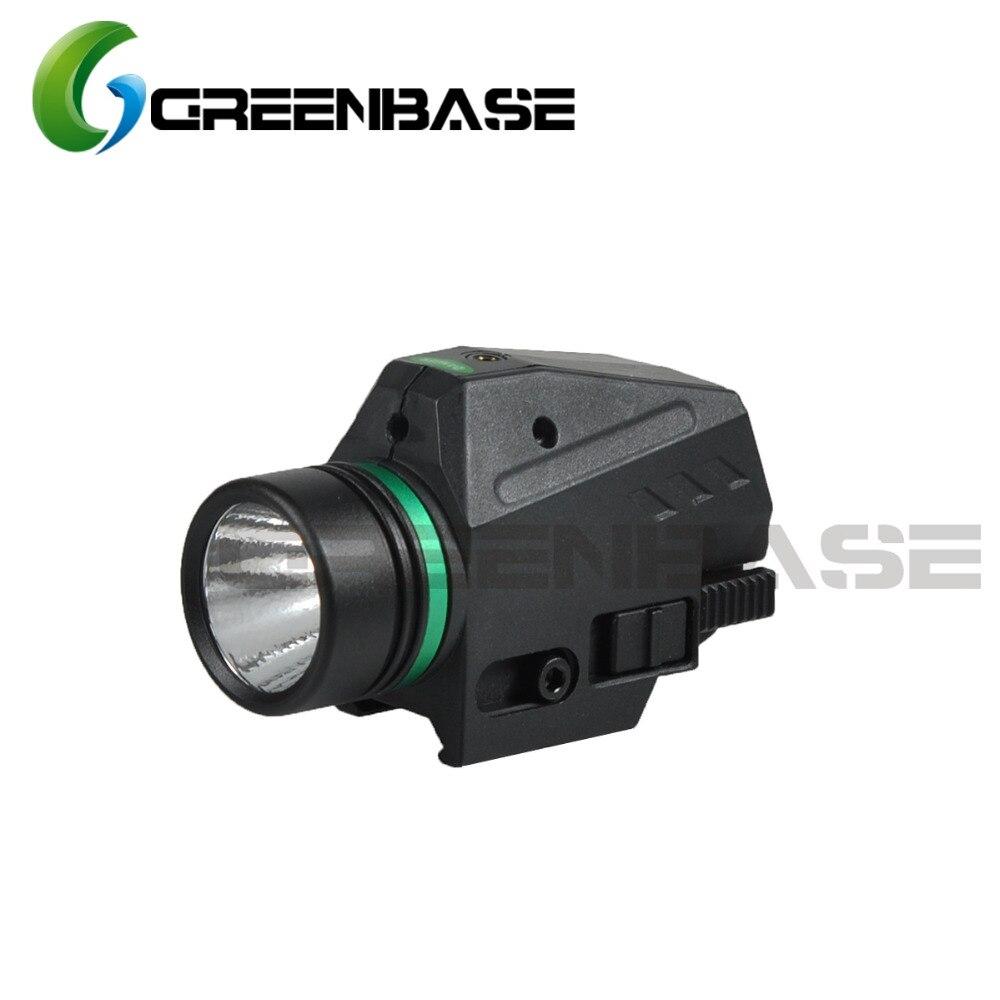 Greenbase Tactique LED lampe de Poche Vert Visée Laser Combo Pour 20mm Rail Mini Glock Pistolet Pistolet Lumière lanterna Airsoft Lumière