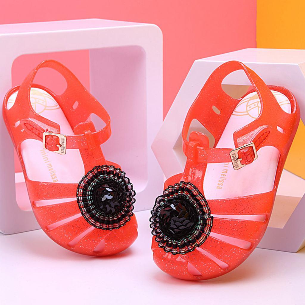 hot Mini Melissa Half Ball Hat 2018 Summer Girls Sandals Kids Mini Aranha X Mary Jane Flat New Shoes Hook Loop