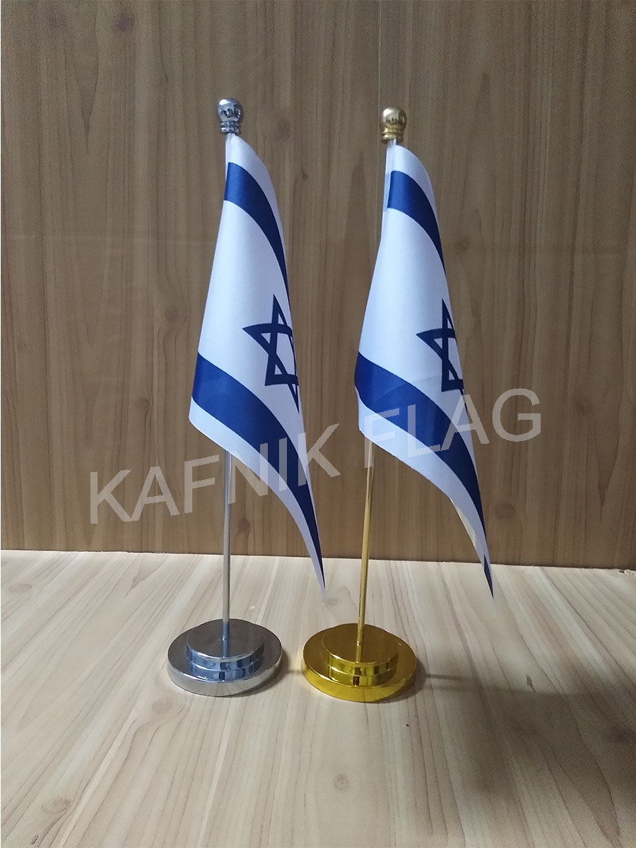 KAFNIK,Israel Office table desk flag with gold or silver metal flagpole base 14*21cm country flag free shipping