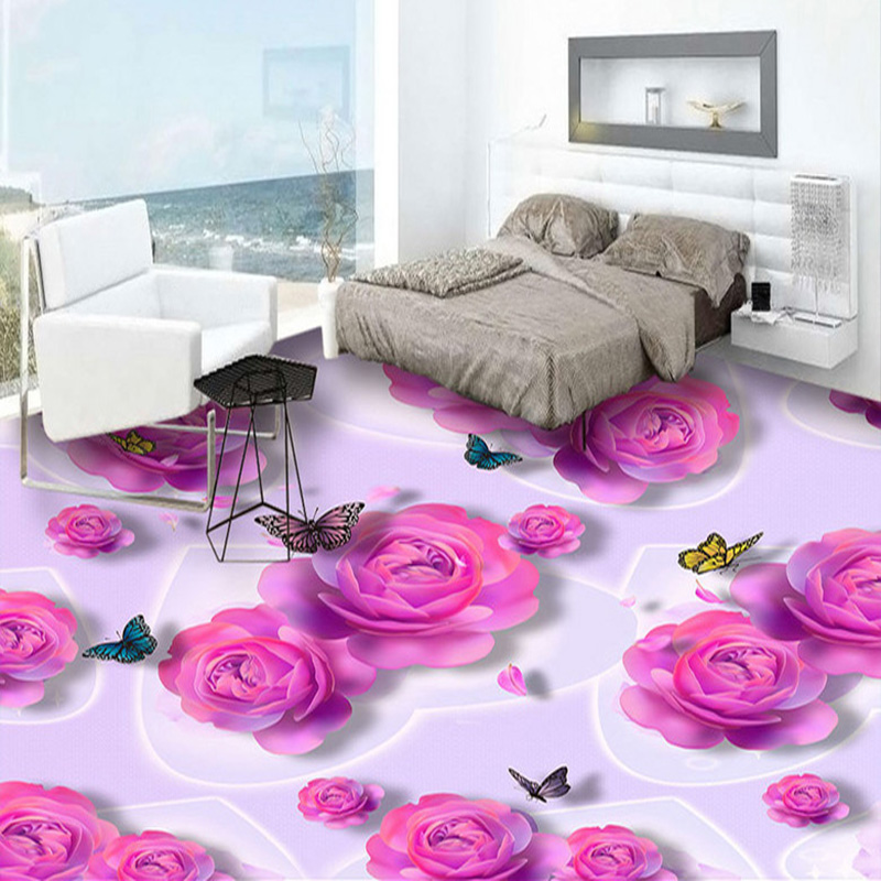 Custom 3D Floor Tiles Wallpaper Romantic Pink Rose Flowers Butterfly Fashion Murals Sticker Bedroom Bathroom PVC Floor Wallpaper